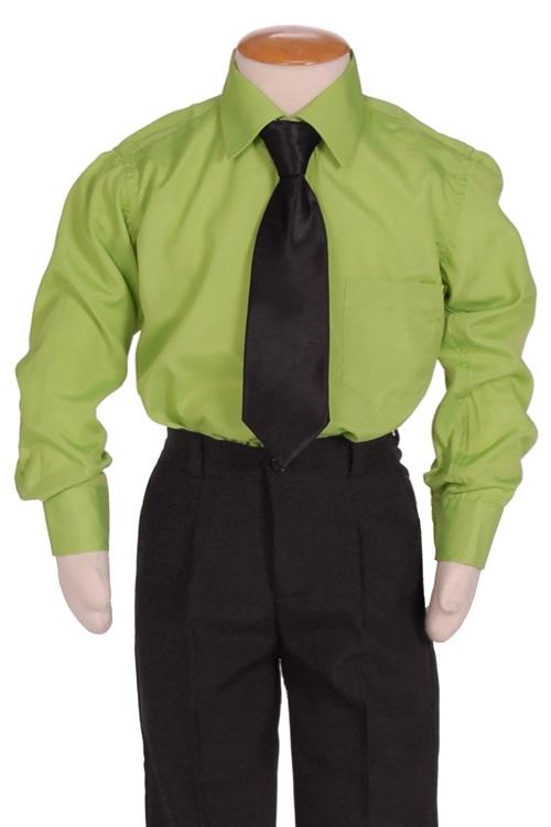Kinderoverhemd lange mouw groen- 98