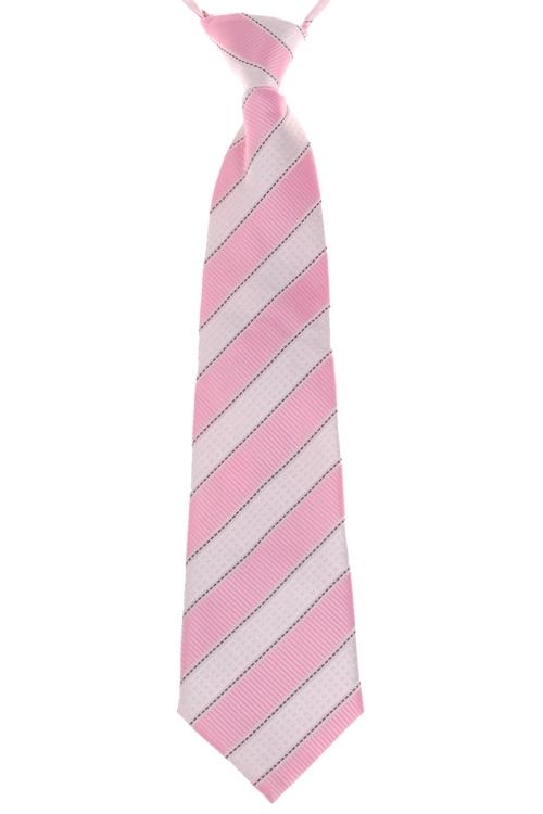 Kinderstropdas streep wit - roze-32cm