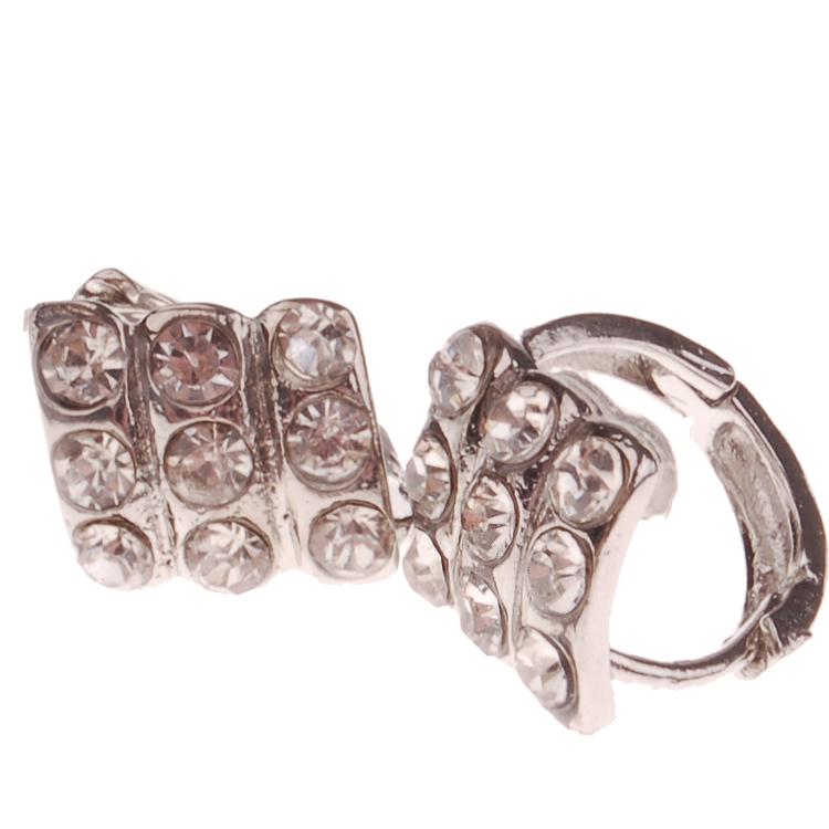 Dames oorbellen zilver met strass-