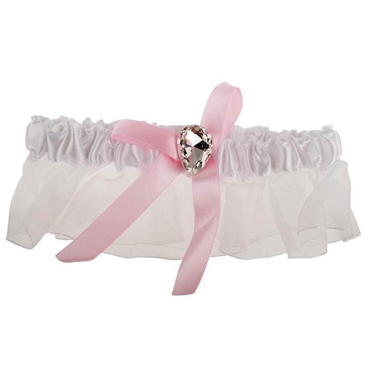 Kousenband wit met roze strik-