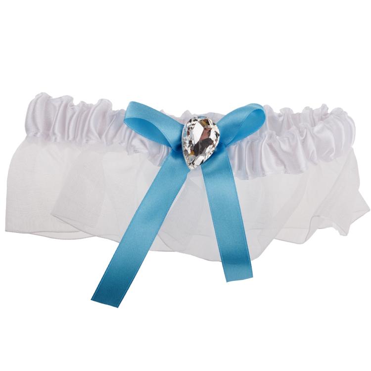 Kousenband wit met blauw strikje-