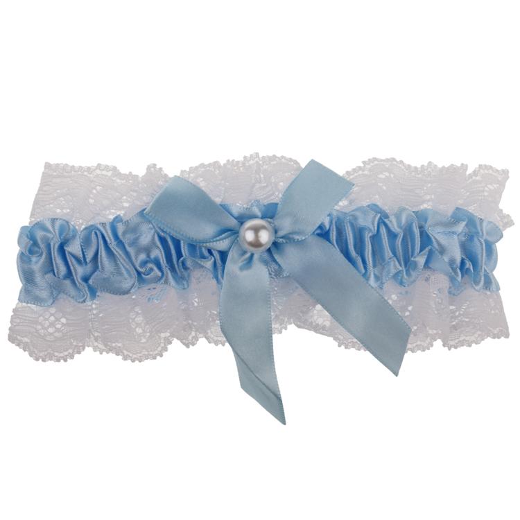 Kousenband wit met blauw-
