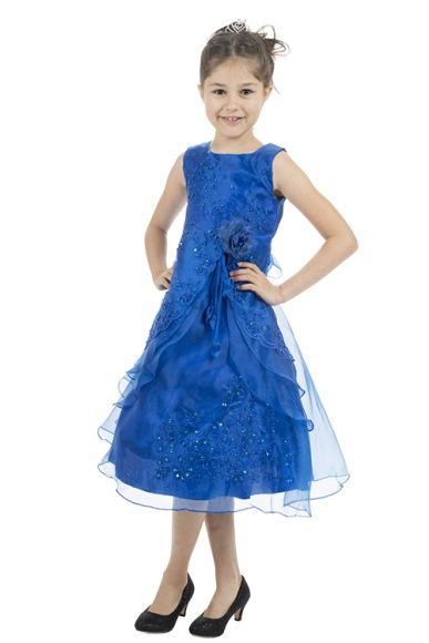 Meisjesjurk blauw met organza