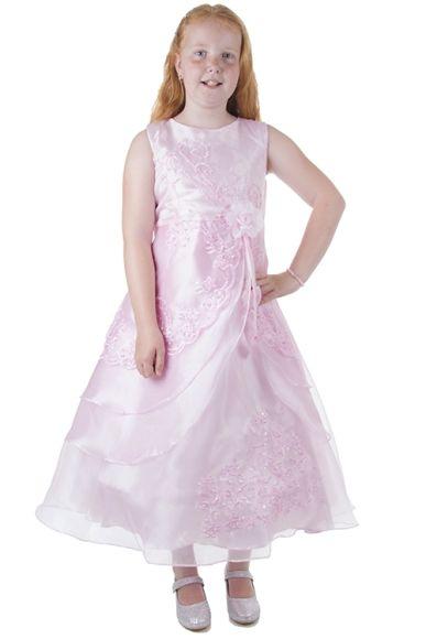 Meisjesjurk  roze met organza
