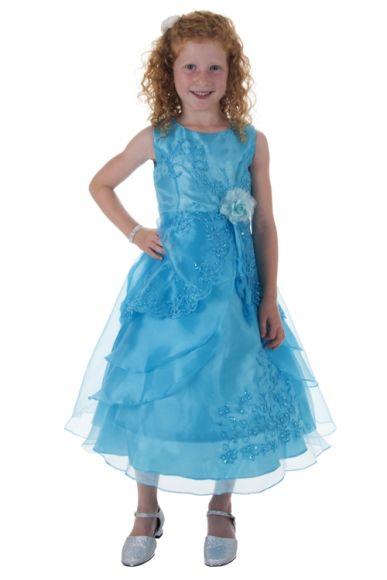 Meisjesjurk turquoise met organza