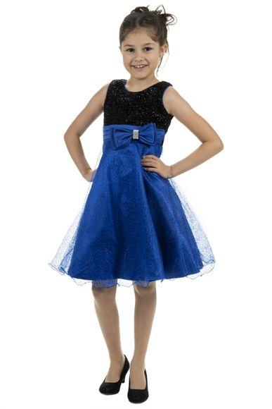 Meisjesjurk blauw met zwart glimmend lijfje