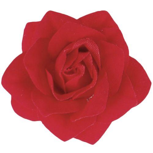Rood roosje op clipje | Haar accessoire | Bruidskapsel
