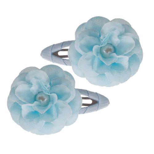Haarclipjes licht blauw bloemetje met pareltje