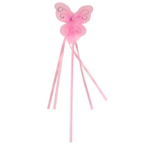 Toverstaf met vlinder roze