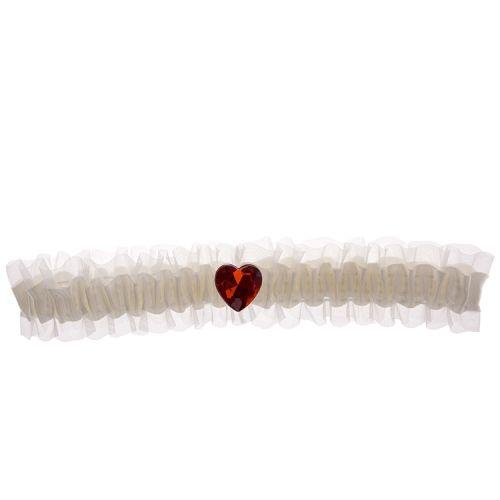 Kousenband ivoor met rood strass hartje