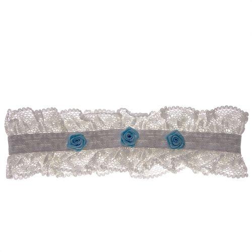 Kousenband ivoor met blauwe bloemetjes