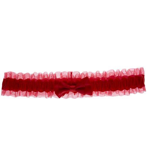 Kousenband rood met strikje