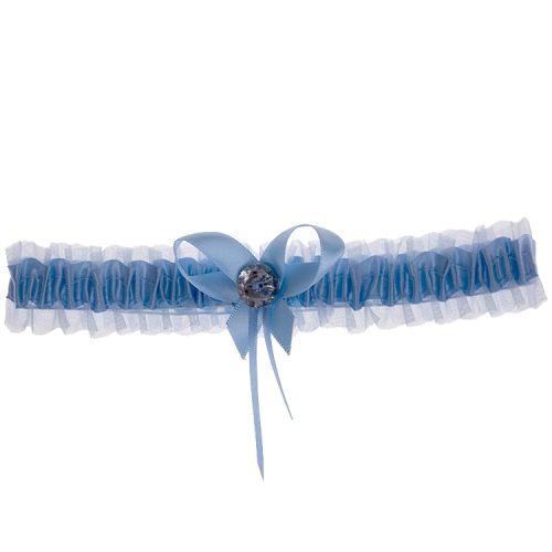 Kousenband lichtblauw met strikje en strass