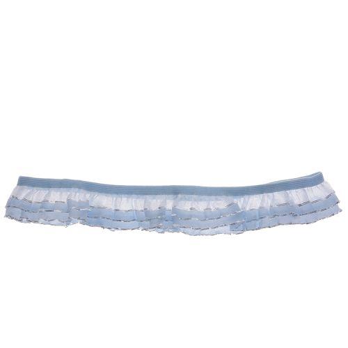 Kousenband lichtblauw met zilver