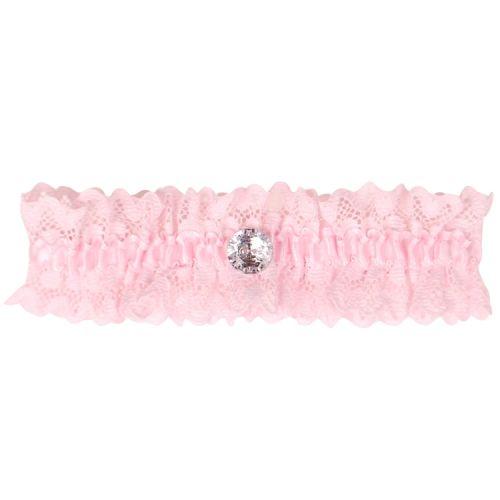 Roze kousenband met kant en strass knoopje