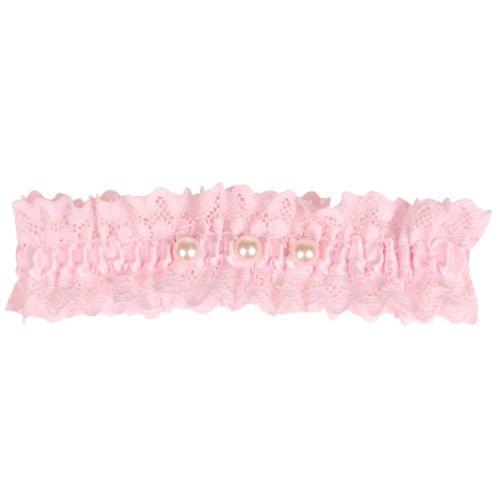 Roze kousenband met kant en pareltjes