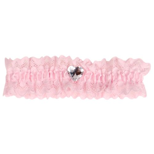 Roze kousenband met kant en hartje strass