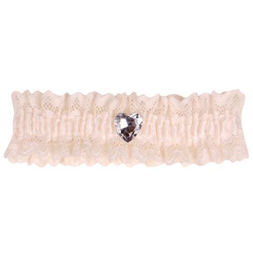 ousenband ivoor met kant en strass hartje