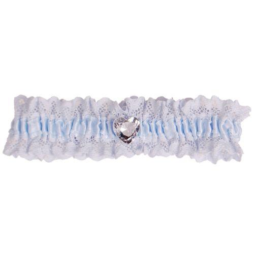 Kousenband blauw met kant en strass hartje