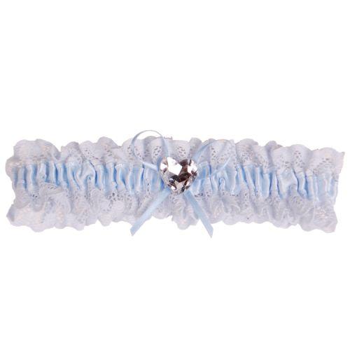 Kousenband blauw kant met strikje en strass hartje