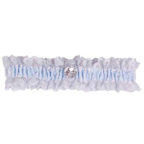 Kousenband blauw met kant en strass knoopje