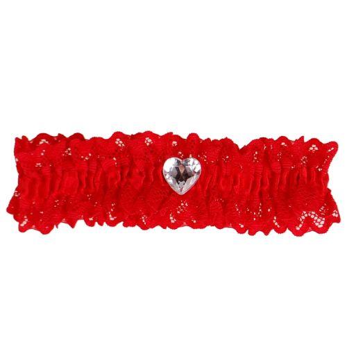 Kousenband rood met kant en strass hartje