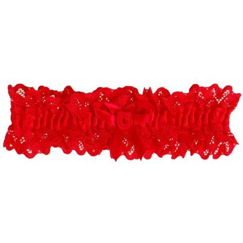 Kousenband rood kant met strikje en roosje