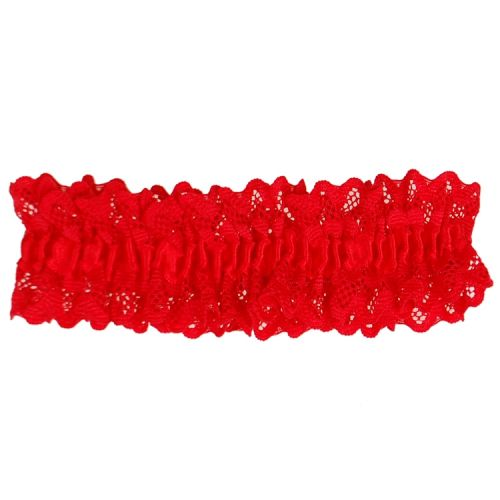 Kousenband rood met kant