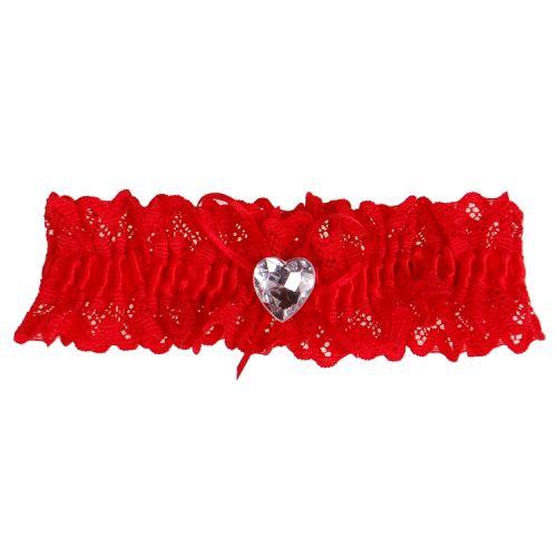 Kousenband rood kant met strikje en strass hartje