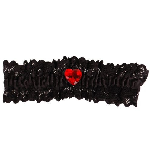 Kousenband zwart met kant en rood strass hartje
