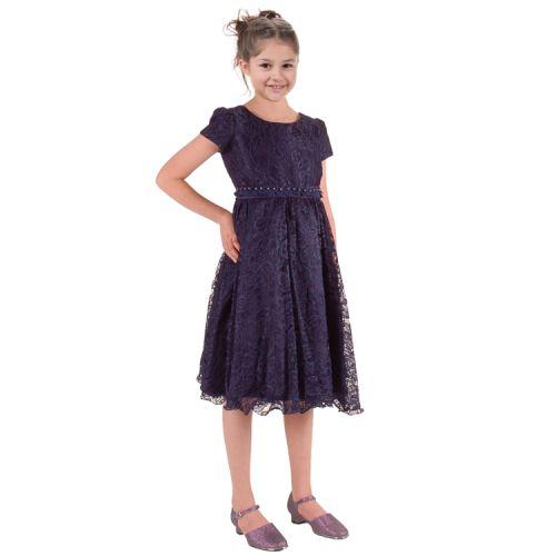 Meisjesjurk donkerblauw met mouwtje
