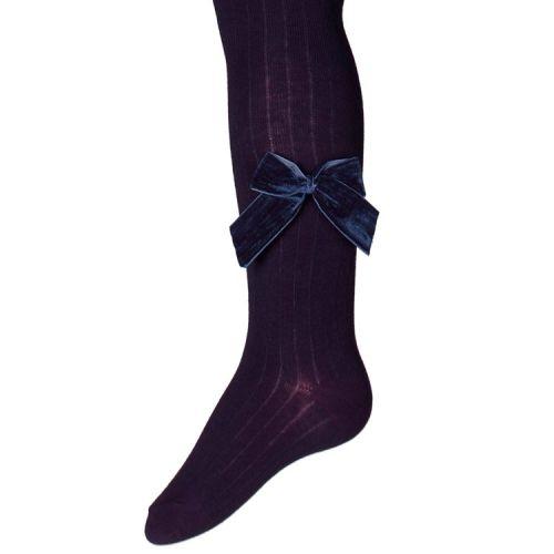 Kinder Ribmaillot Donkerblauw met Fluwelen strik aan zijkant been