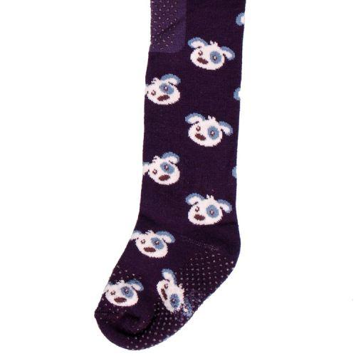 Babymaillot met antislip stippen - Donkerblauw met Hondenkoppen