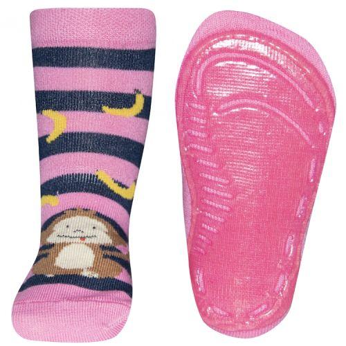 Antislip sokken aapje met bananen gestreept roze