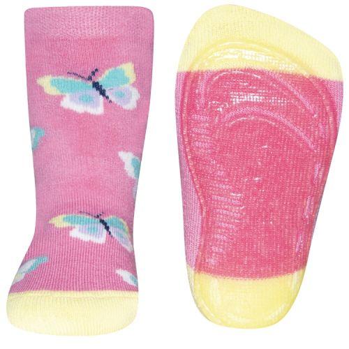 Antislip sokken vlinders roze