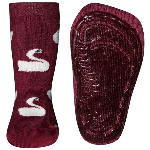 Antislip sokken met zwanen wijnrood