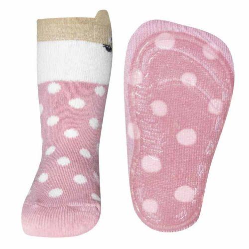 Antislip sokken vosje en stippen roze