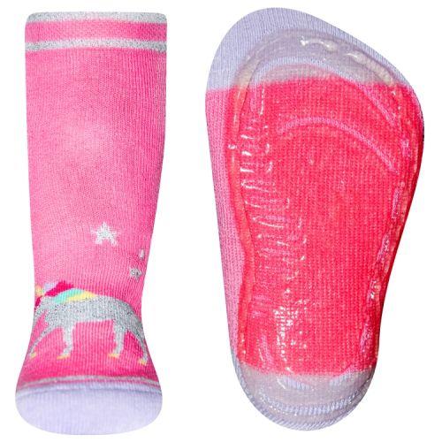 Antislipsok roze met eenhoorn van glittergaren
