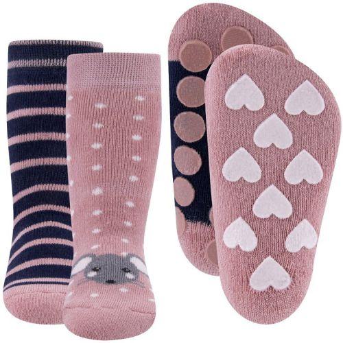 Dubbelpak Antislipsokken met Noppen - Roze met muisje en Blauw met strepen