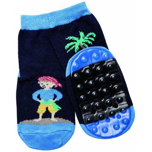 Antislip sokken donkerblauw met piraat