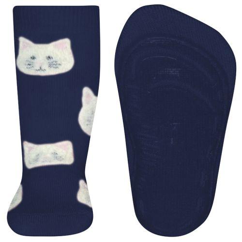 Antislip sokken donkerblauw met poezenhoofdjes