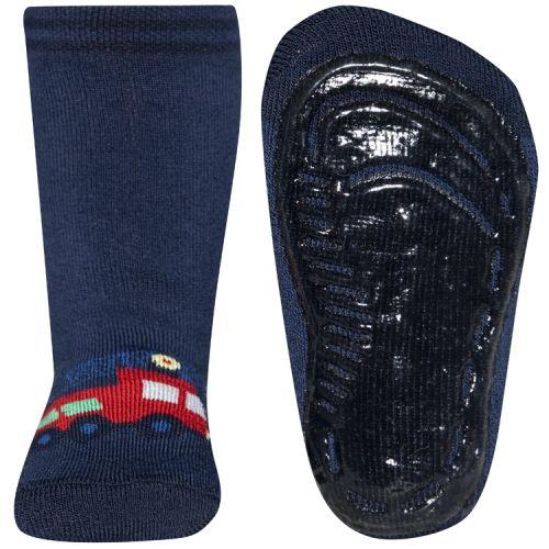 Antislip sokken donkerblauw met brandweerauto
