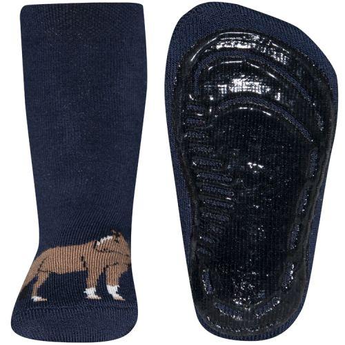 Antislip sokken donkerblauw met paard