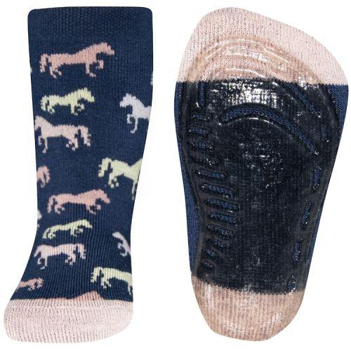 Antislip sokken paardjes donkerblauw met roze
