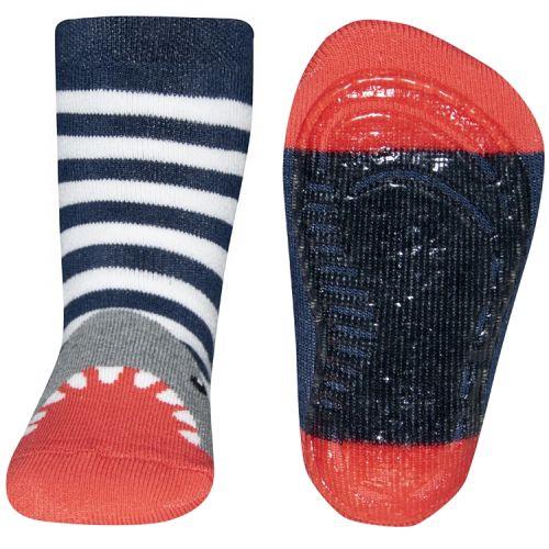Antislip sokken haai gestreept blauw/wit