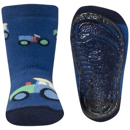 Antislip sokken blauw met tractors