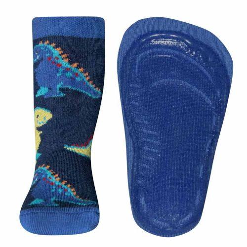 Antislip sokken met dinosaurussen donkerblauw