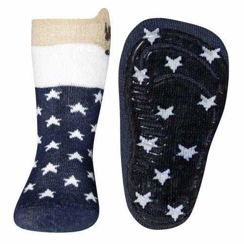 Antislip sokken met reetje en sterren blauw