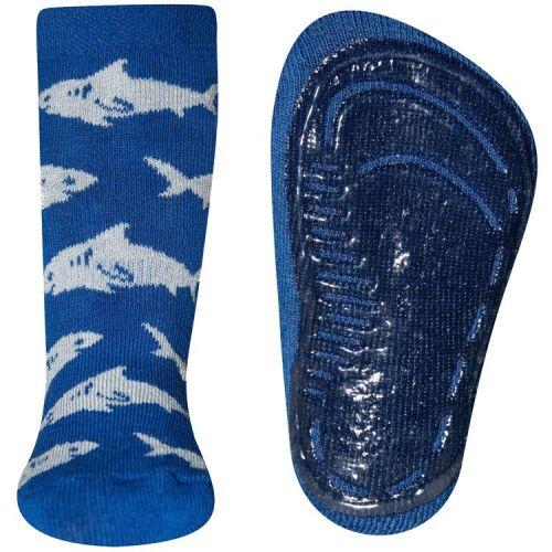 Antislipsok blauw met haaien