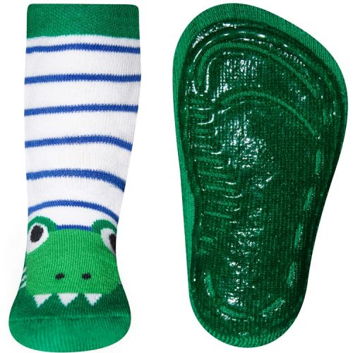 Antislipsok groen gestreept met krokodil